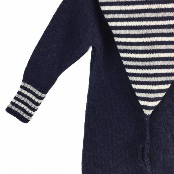 Heldress med stripete hette marineblå